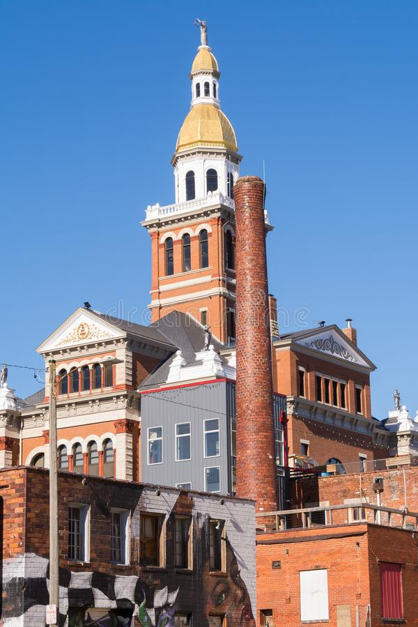 Dubuque County Courthouse. With brillant blue skies in background. Dubuque, Iowa, USA stock image