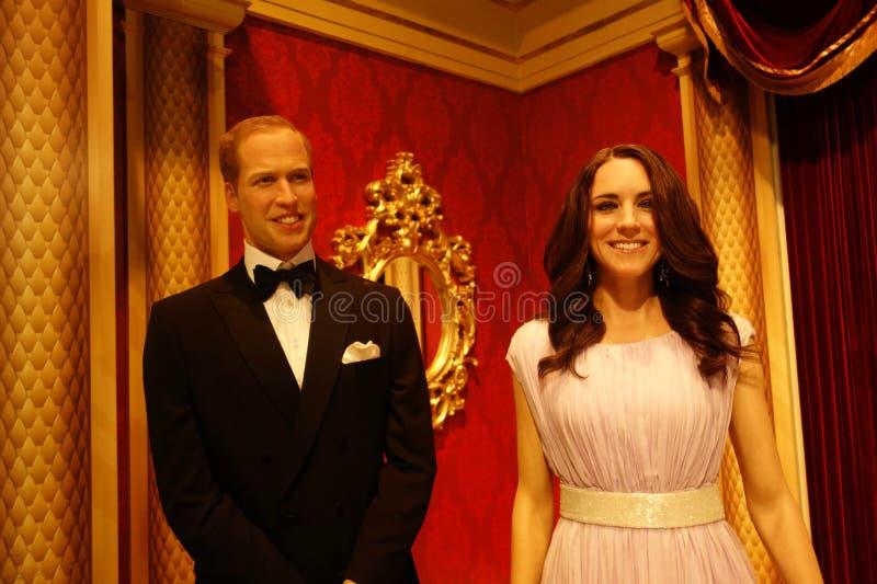 Duc et duchesse des chiffres de cire de Cambridge photographie stock libre de droits