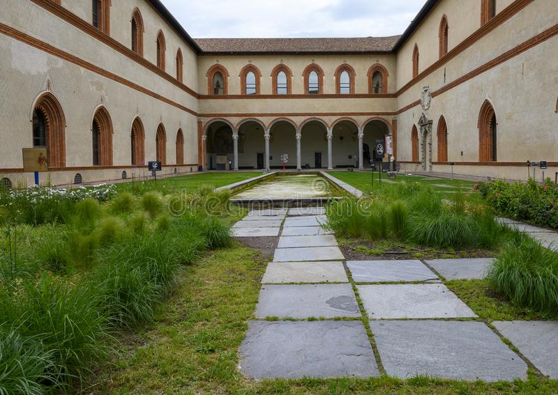 The Ducal Court in the Sforza Castle  in Milan, Italy royalty free stock photos