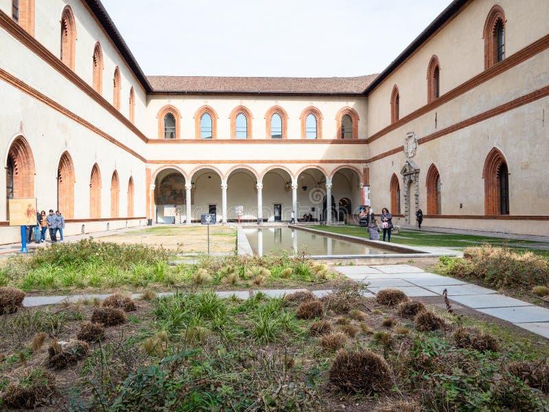 Ducal Courtyard in Sforza Castle in Milan royalty free stock image