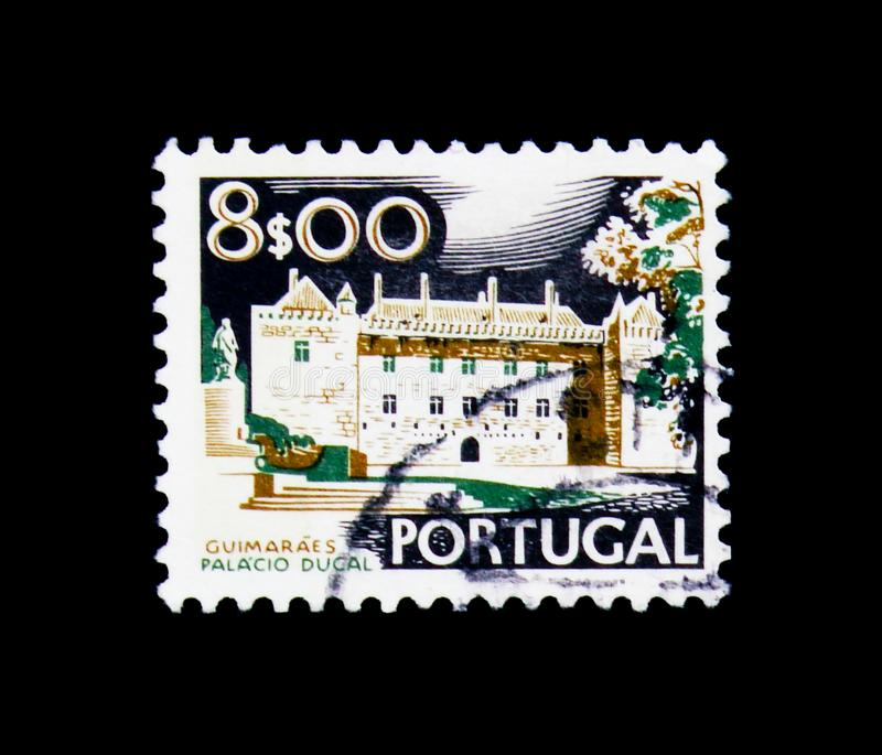 Ducal Palace, Guimaraes, Landscapes and Monuments serie, circa 1. MOSCOW, RUSSIA - NOVEMBER 24, 2017: A stamp printed in Portugal shows Ducal Palace, Guimaraes stock photos