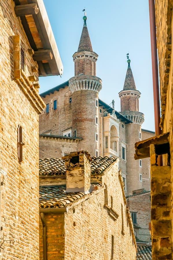 Ducale pałac w Urbino mieście, Marche, Włochy fotografia stock