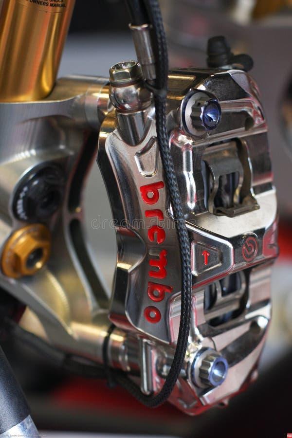 Ducati Panigale R breake 1199 och framdelsuspensionTeamDucati Alstare Superbike WSBK arkivfoton