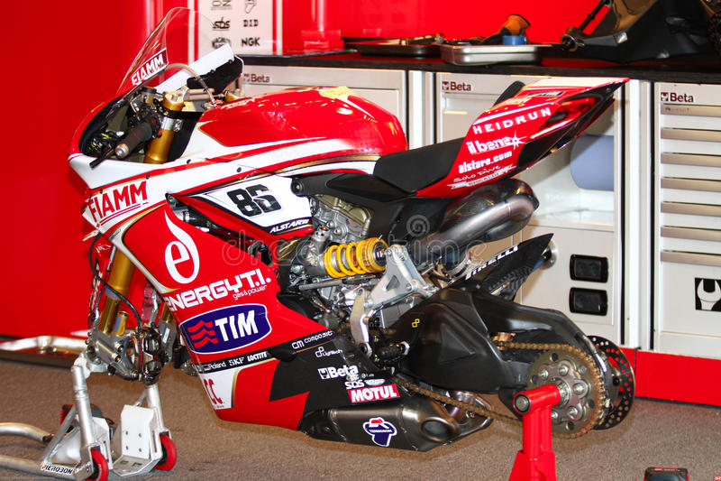 Ducati Panigale 1199 R Team Ducati Alstare Superbike WSBK images stock