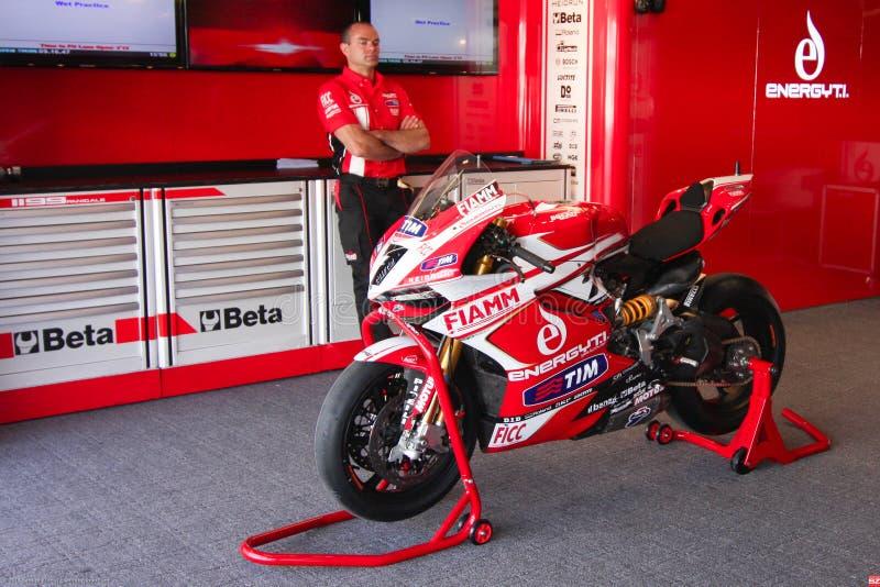 Ducati Panigale 1199 R Team Ducati Alstare Superbike WSBK photos stock