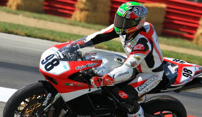 Ducati sports bike. Jake Zemke races the motorcycle event on the Ducati 848 royalty free stock image