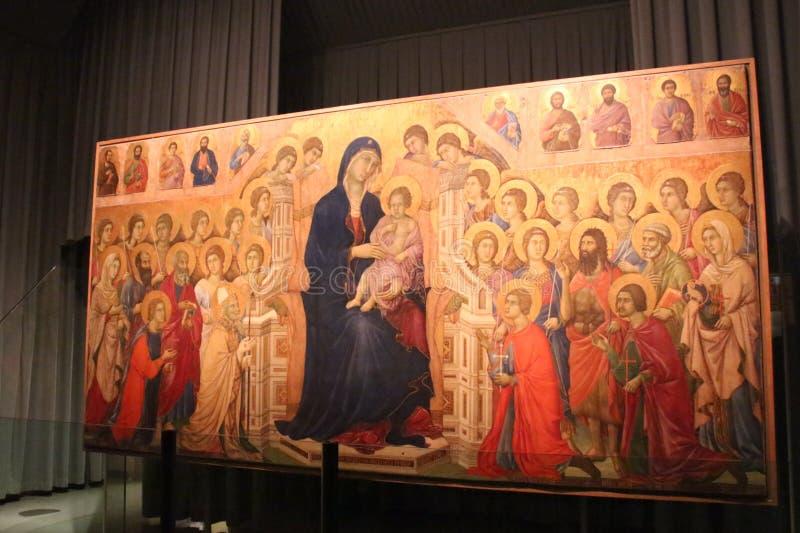 Duccio di Buoninsegna, Maesta, Museo dell`Opera metropolitana del Duomo, Siena, Italy. stock photos