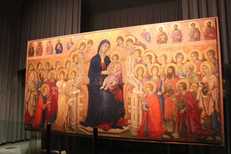 Duccio Di Buoninsegna, Maesta, Museo dell ` opery metropolitana Del Duomo, Siena, Włochy zdjęcia stock