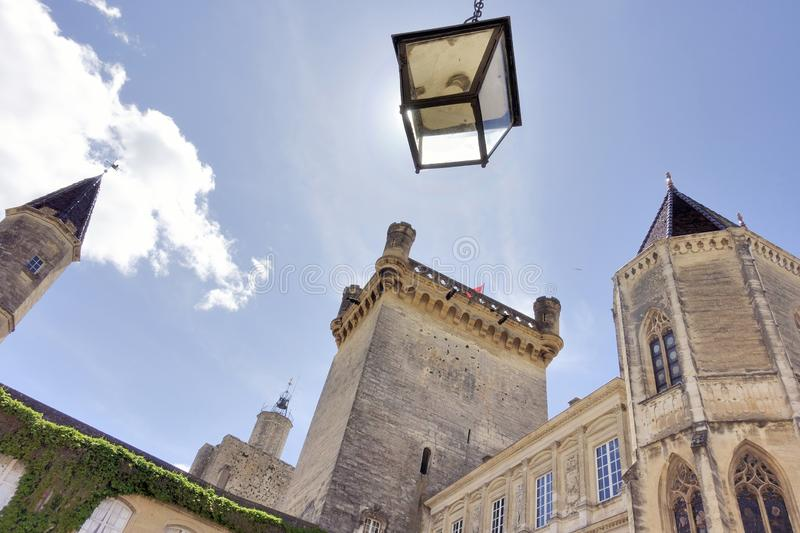 Duché Palace, Uzes, France. Seen from frog perspective royalty free stock images
