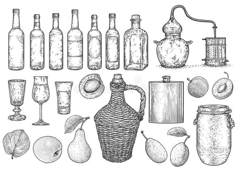 Duch, alkohol, palinka materiału ilustracja, rysunek, rytownictwo, atrament, kreskowa sztuka, wektor royalty ilustracja