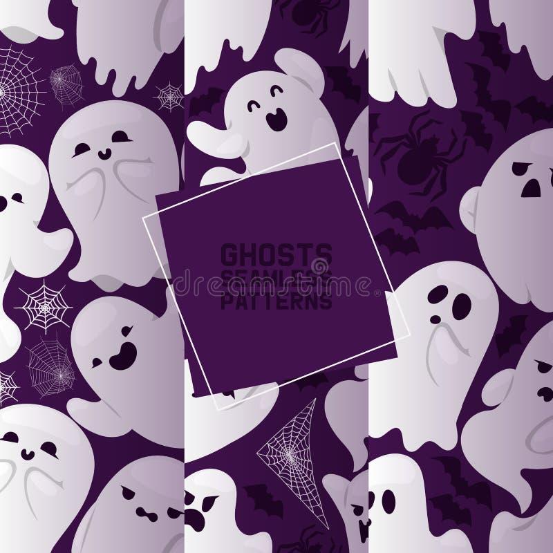 Duch bezszwowej deseniowej wektorowej kreskówki charakteru straszny straszny ghosted ilustracyjny tło Halloweenowy wakacyjny horr royalty ilustracja
