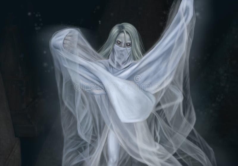 Duch chodzi w cmentarzu ilustracja wektor