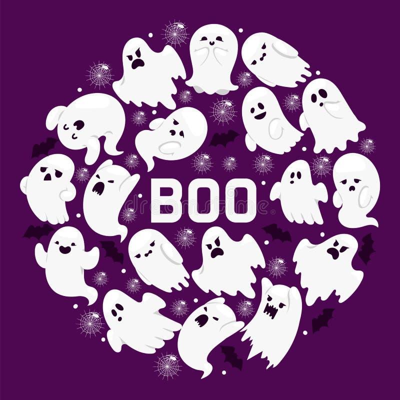 Duch deseniowej wektorowej kreskówki charakteru straszny straszny ghosted ilustracyjny tło Halloweenowy wakacyjny horroru koszmar ilustracja wektor