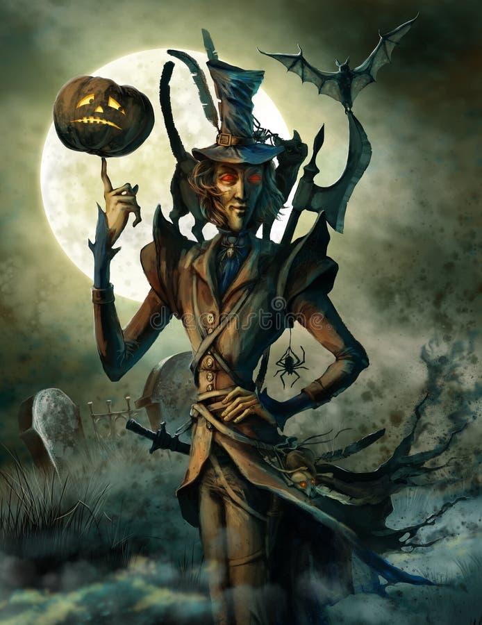 Duch Halloween na cmentarzu ilustracji