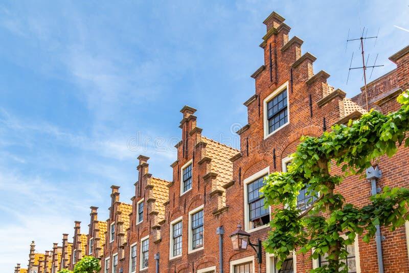 Duch tradizionale ha fatto un passo case del timpano a Haarlem nei Paesi Bassi fotografie stock libere da diritti