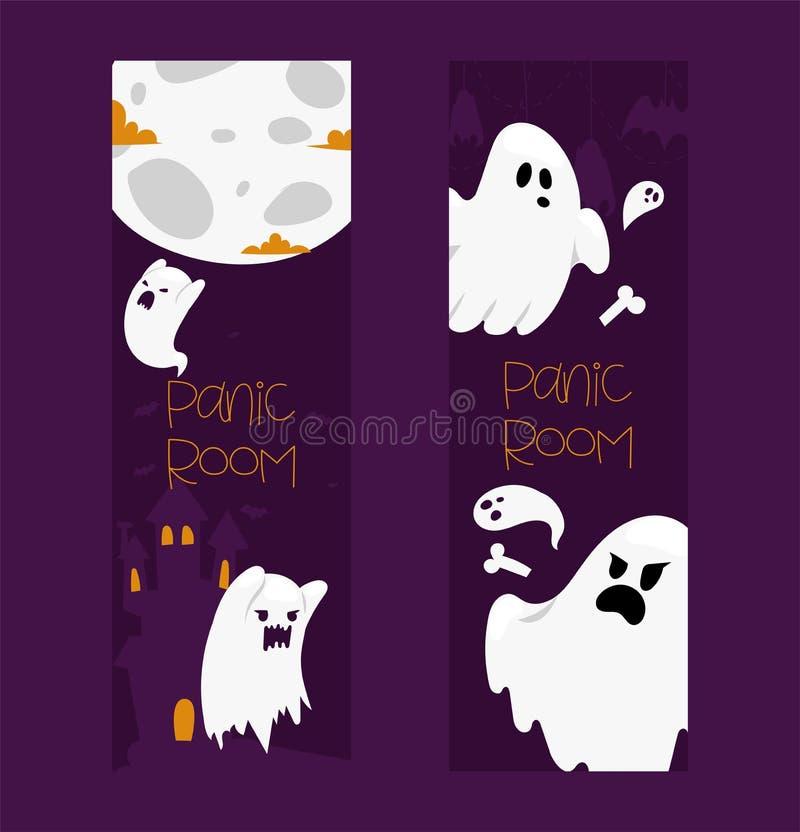 Duch wektorowej kreskówki charakteru straszny straszny ghosted ilustracyjny tło Halloweenowy wakacyjny horroru koszmar widmowy ilustracji