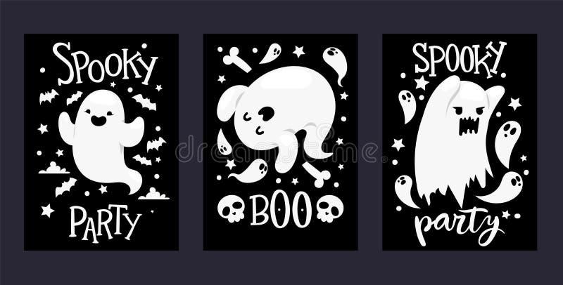 Duch wektorowej kreskówki charakteru straszny ghosted ilustracyjny tło Halloweenowy wakacyjny straszny partyjny horroru koszmar ilustracji