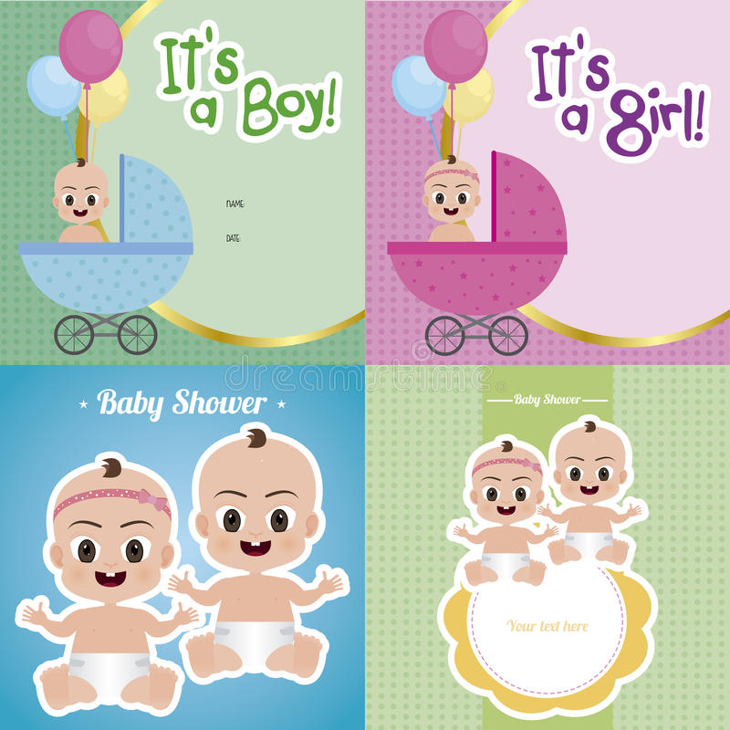 Ducha de bebé stock de ilustración