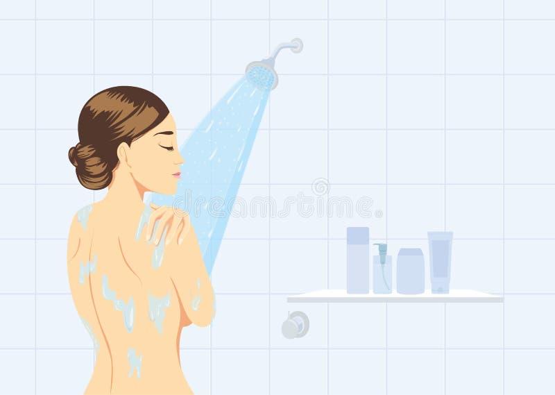 Ducha de las mujeres de la belleza en la opinión de la parte posterior del cuarto de baño ilustración del vector