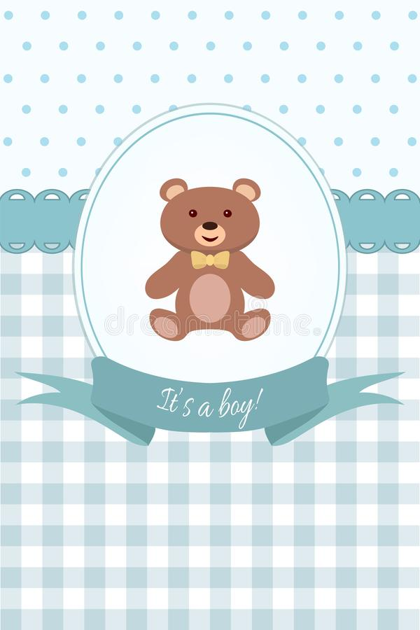 Ducha del bebé o tarjeta de llegada con el oso de peluche Diseño plano ilustración del vector