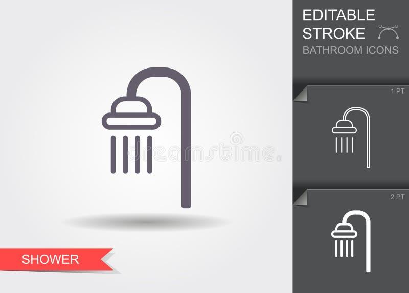 ducha L?nea icono con el movimiento editable con la sombra libre illustration