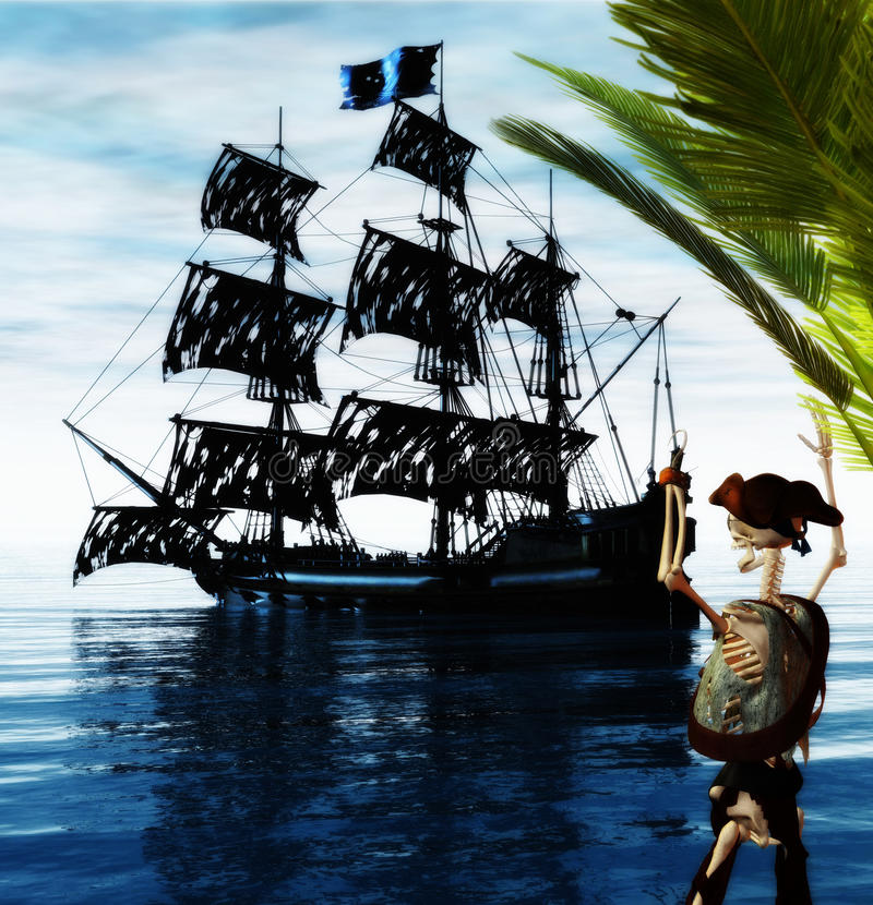ducha pirata statku kościec ilustracji