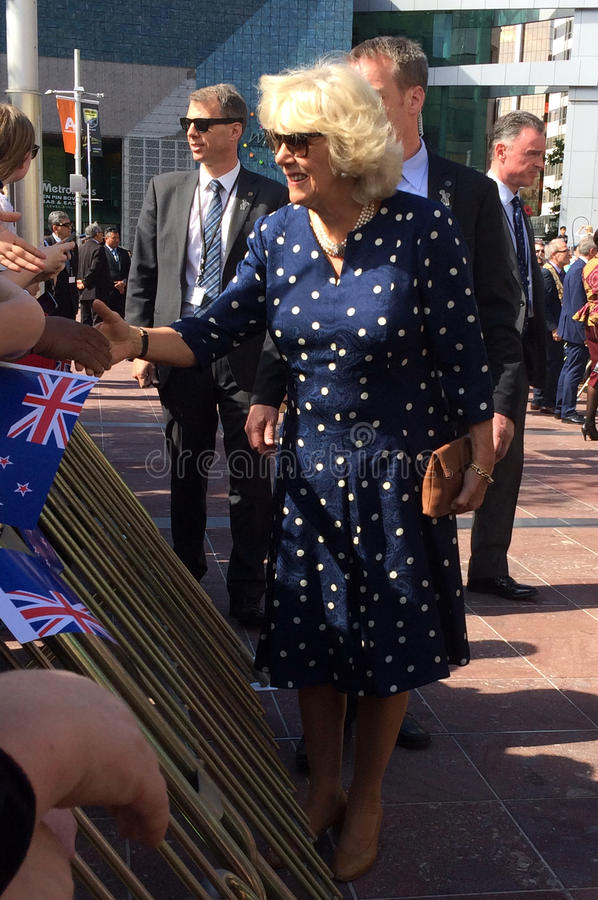 Duchess of Cornwall visit to Auckland New Zealand. AUCKLAND - NOV 08 2015:Duchess of Cornwall (C) arrive at Aotea Square, in Auckland New Zealand for a public royalty free stock image