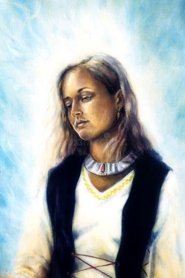 Duchowy obraz, Środkowa kobieta ilustracja wektor
