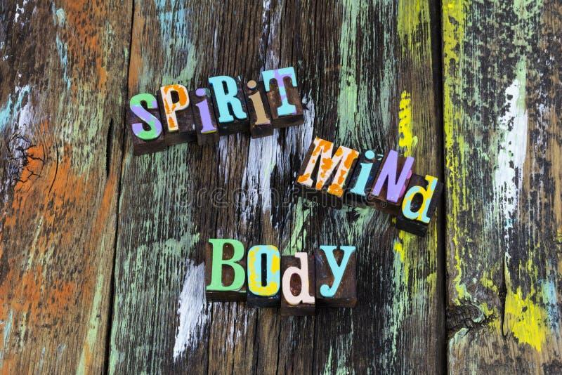 Duchowy umysł religię ciała wierzy sobie w typografię obraz stock