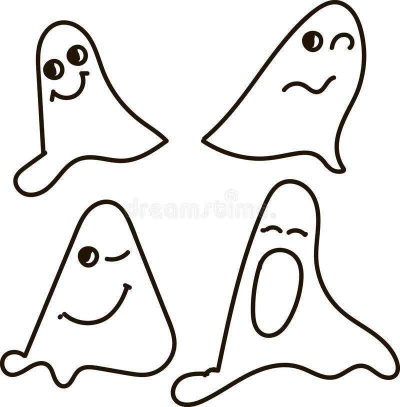 Duchy, czarno biały, rysunek, emocje: nfunny, uśmiech okaleczający, zaskakujący, mrugnięcia, poziewania, Halloween ilustracji