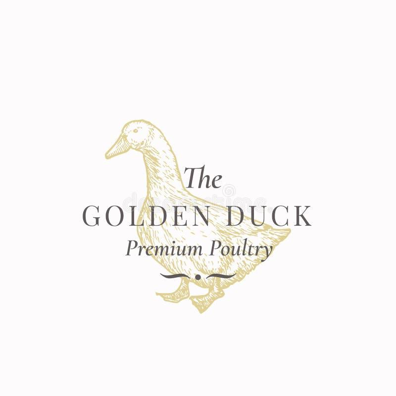 Duck Abstract Vector Sign de oro, símbolo o Logo Template Pájaro nacional exhausto Sillhouette de la mano con retro stock de ilustración