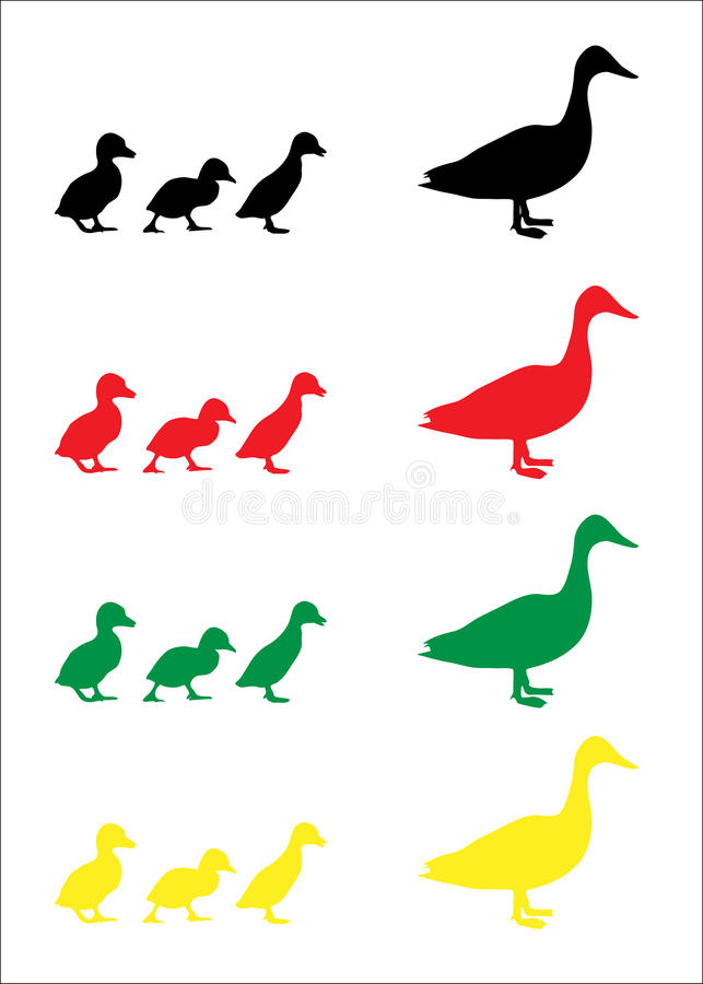 Free Duck And Duckling Silhouettes Stock Photography - 13500112