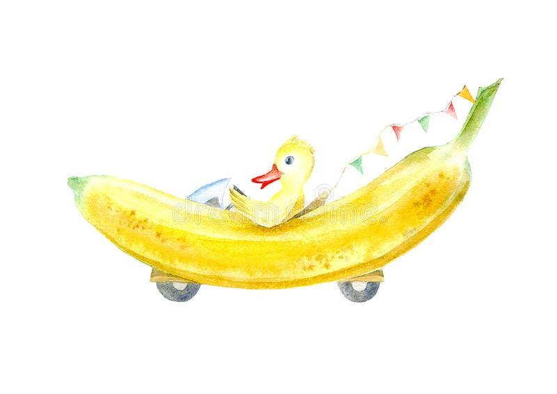 Duck on a banana machine.Travel sketch. White background. Watercolor hand drawn illustration royalty free illustration