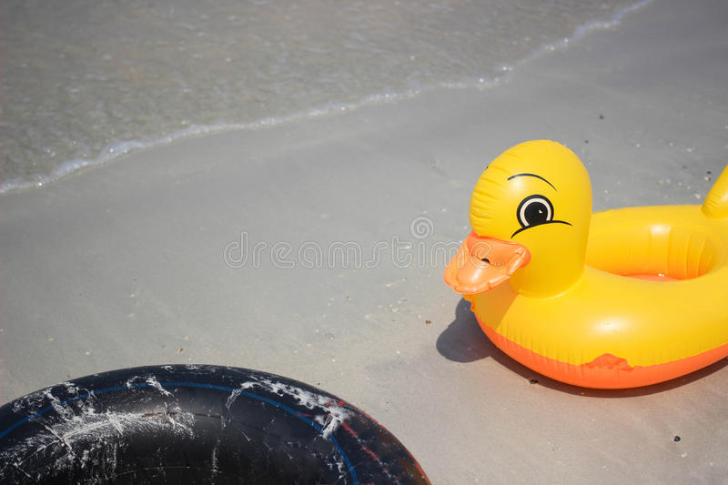 Duck and black life rings. stock photo