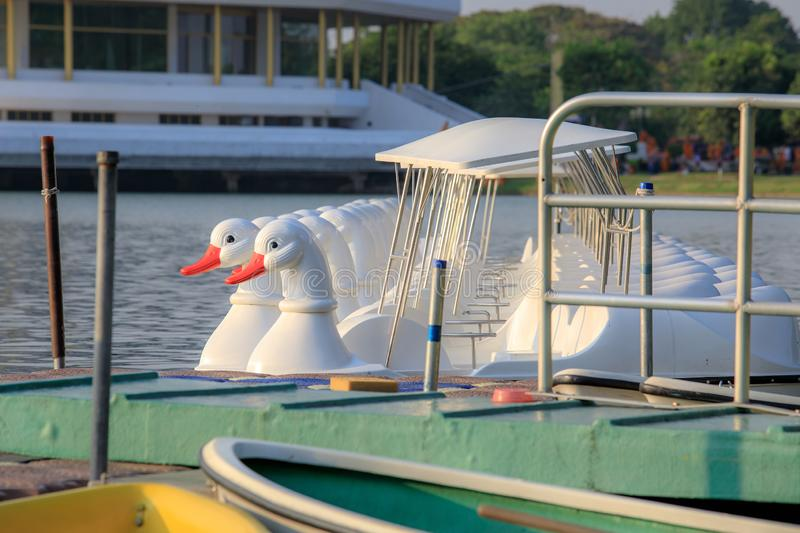 Duck boat in lake with sunset or evening light tone of Bangkok, Thailand. Relax background royalty free stock photography