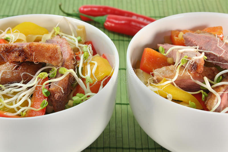 Duck breast with fried noodles. Crispy duck breast with fried noodles and vegetables stock photography