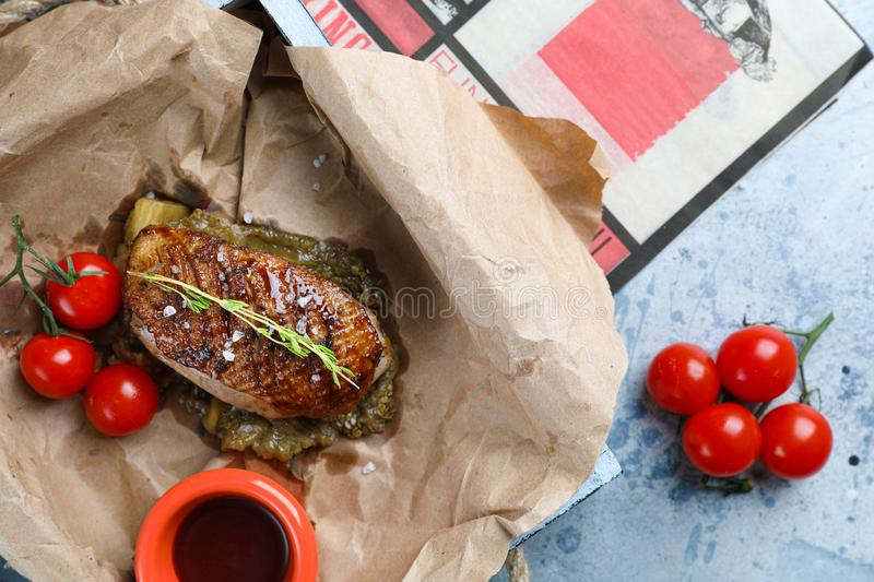 Duck breast with rosemary and vegetables royalty free stock photography