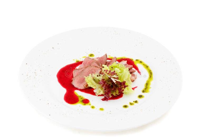 Duck breast on white background stock photo