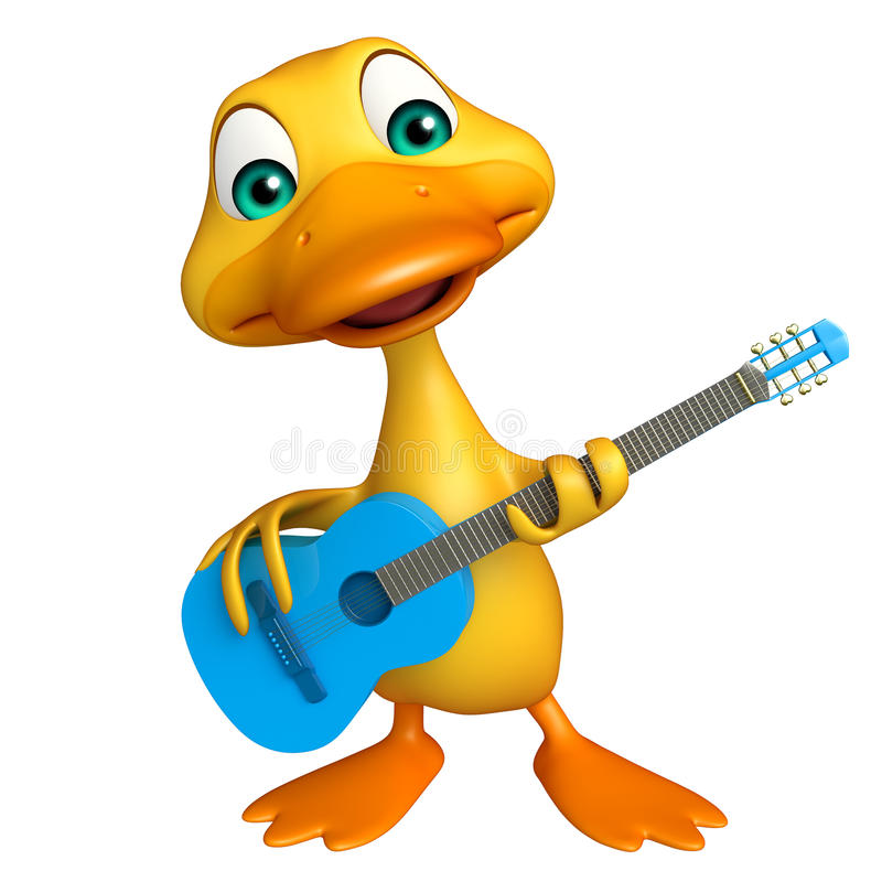 Duck cartoon character with guitar. 3d rendered illustration of Duck cartoon character with guitar stock illustration