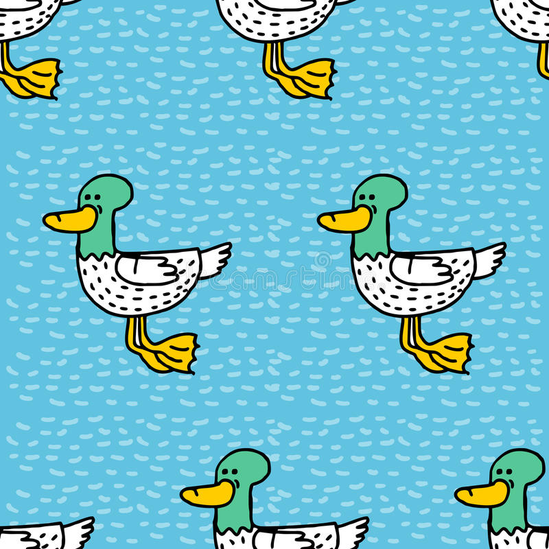 Duck cartoon pattern. Drake drawing ornament. Bird background.  vector illustration