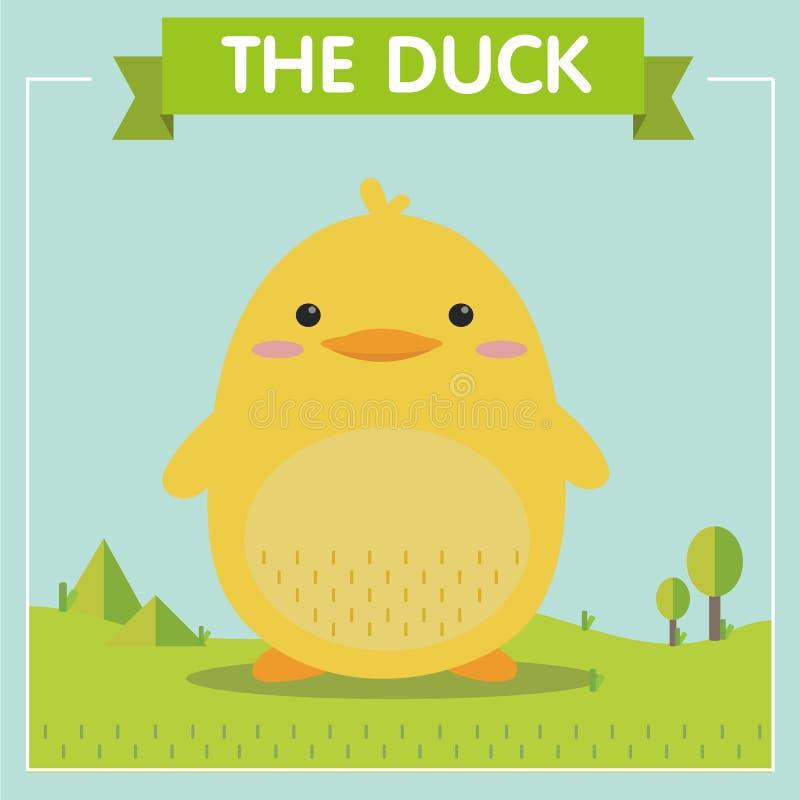 Duck Character amarillo muy lindo stock de ilustración
