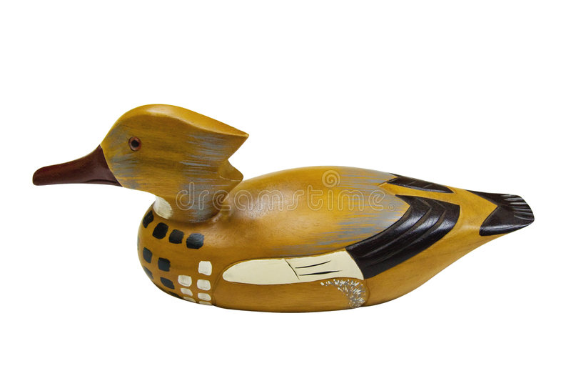 Duck Decoy with clipping path. Wood duck decoy isolated on white with clipping path stock photography
