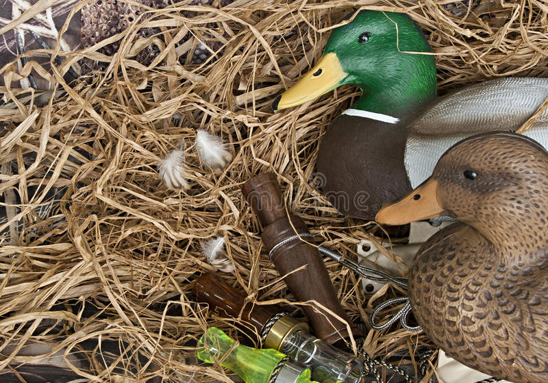Duck decoy with stuffed and calls. Duck decoy with stuffed and some calls royalty free stock image