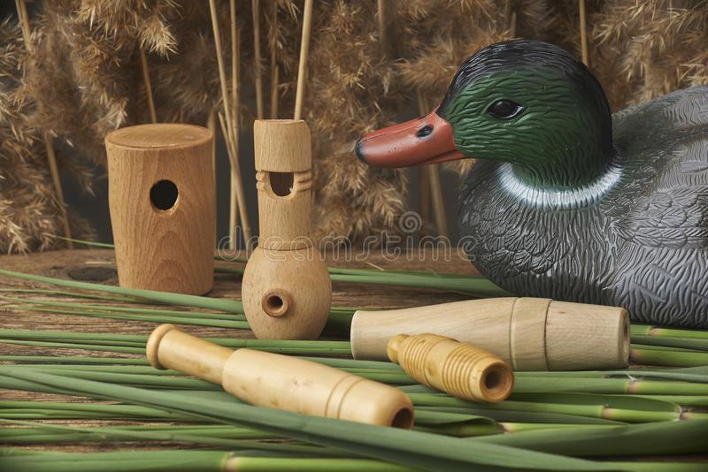 Duck decoys and whistles. For birds in the reeds royalty free stock photo