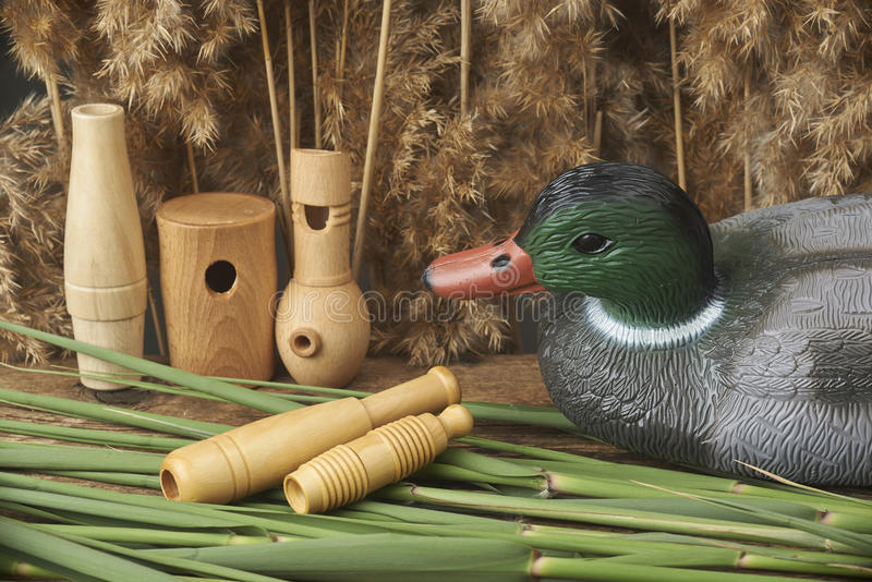 Duck decoys and whistles. For birds in the reeds royalty free stock images