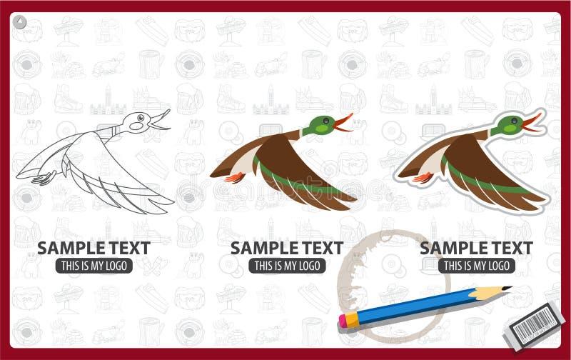 Duck flying vector illustration