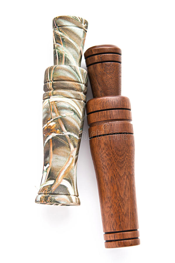 Duck and goose decoy with stuffed and calls. Duck and goose decoy with stuffed and some calls stock photo