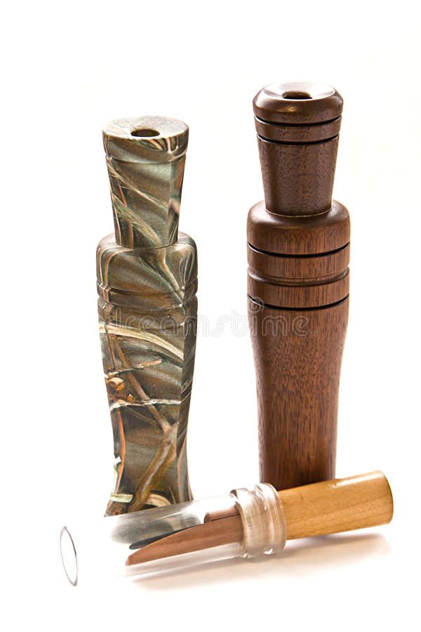 Duck and goose decoy with stuffed and calls. Duck and goose decoy with stuffed and some calls stock image
