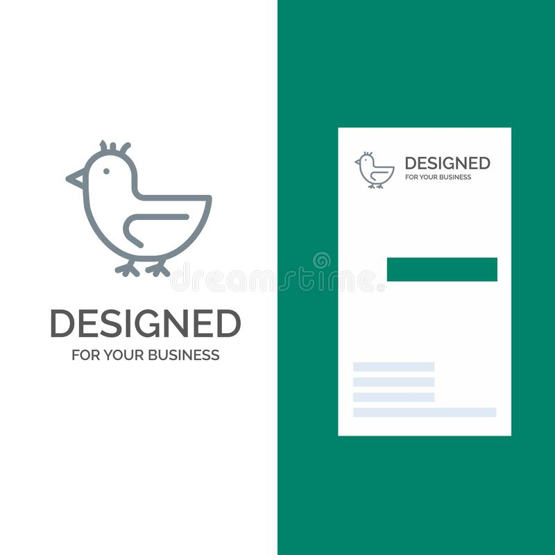 Duck, Goose, Swan, Spring Grey Logo Design и Business Card Template (Шаблон серого логотипа) иллюстрация штока