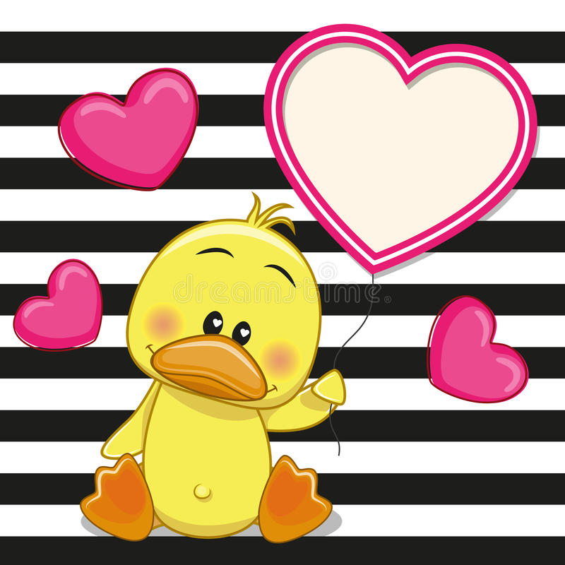 Duck with heart frame vector illustration